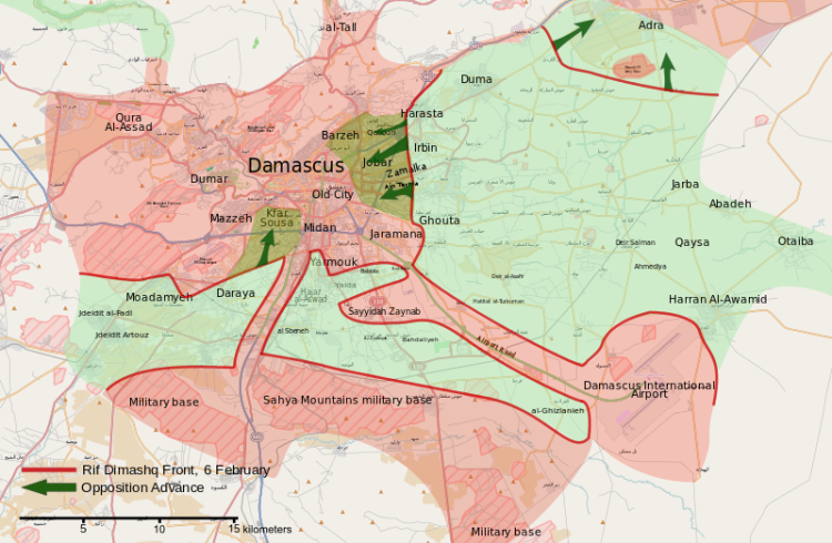 Map of the February 2013 Damascus offensive. OpenStreetMap