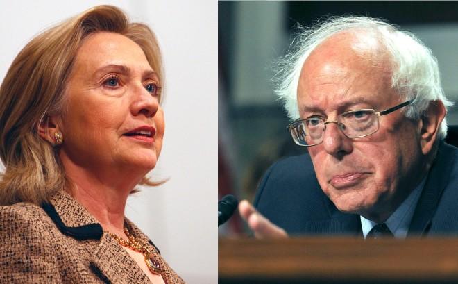 Hillary Clinton & Bernie Sanders Photo: Harald Dettenborn and United States Dept of Veteran Affairs